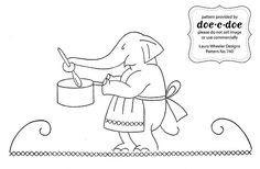 doe-c-doe's elephant chores, to be put on tea towels for a friend.