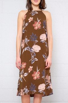 """Only 90s kids will know how coveted Angela Chase's wardrobe was. Finally that balance of feminine and grunge can be yours with this floral midi dress. Featuring a high neck low sides with a band detail and side slits that give the dress movement. Fully lined.  Model is 5'7.5"""" and is wearing a size S  Length (from armpit to bottom hem): 31"""" Bust (flat) 16"""" Floral Cami Dress by Dee Elle. Clothing - Dresses - Midi Vancouver Canada"""