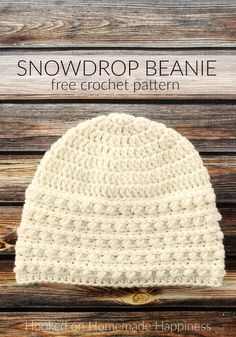 Snowdrop Beanie Crochet Pattern (CAL for a Cause) - - The Snowdrop Beanie Crochet Pattern starts out with a simple double crochet. Then it uses a combination of half double crochet and the Pebble Stitch to create the pretty textured brim. Crochet Adult Hat, Easy Crochet Hat, Bonnet Crochet, Crochet Beanie Pattern, Crochet Cap, Crochet Winter, Crochet Scarves, Crochet Crafts, Crochet Stitches