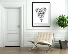 Je Taime - 16x20 on A2 French Typography Art Poster (in White and Black). $57.00, via Etsy.
