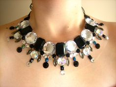 Black and Crystal AB Rhinestone Collar