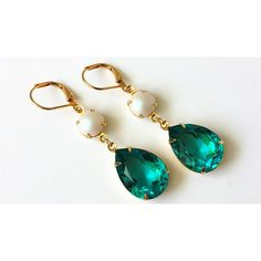 Light Turquoise and Pearl Drop Earrings Swarovski Teal and Pearl... (570 CZK) ❤ liked on Polyvore featuring jewelry, earrings, white pearl drop earrings, turquoise drop earrings, pearl earrings, teal earrings and green turquoise earrings