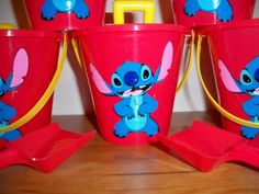 Lilo and Stitch party favor pails with shovels