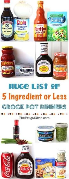 5 Ingredient Crock Pot Recipes! ~ from TheFrugalGirls.com ~ these delicious Crockpot dinners are so easy to make, and packed with flavors your family will love! Perfect for busy nights! by morecerv.