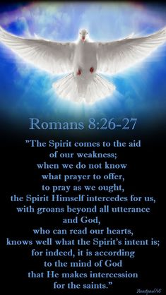 """""""The Spirit comes to the aid of our weakness; when we do not know what prayer to offer, to pray as we ought, the Spirit Himself intercedes for us, with groans beyond all utterance and God, who can read our hearts, knows well what the Spirit's intent is; for indeed, it is according to the mind of God that He makes intercession for the saints."""" Romans 8:26-27#mypic"""