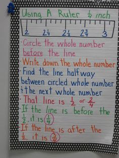 Measurement to the nearest one-fourth inch anchor chart