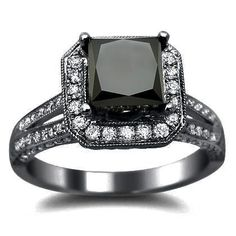 2.65ct Princess Cut Black Diamond Engagement Ring 18k Black Gold With a 1.50ct Center Diamond and 1.15ct of Surrounding Diamonds Front Jewelers. $1850.00