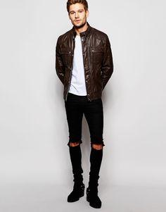 Image 4 ofASOS Leather Jacket with Chest Pocket
