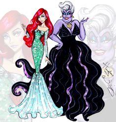 Ariel & Ursula (Fashion by HaydenWilliamsIllustrations @Facebook) #TheLittleMermaid