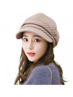 3483279e763 Wool Knitted Visor Beanie Winter Hat for Women Newsboy Cap Warm Soft Lined  - 89365 coffee - CM187E05ZES