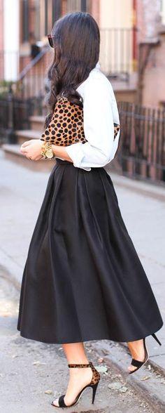 Tibi, Full Black Skirt | Print Clutch.