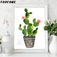 Watercolor Tropical Plants Cactus Posters and Prints Art Canvas Painting Home Decoration Wall Pictures For Living Room Tropical Plants, Cactus Plants, Art Wall Kids, Canvas Wall Art, Nordic Art, Living Room Pictures, Geometric Wall, Holiday Lights, Handmade Decorations