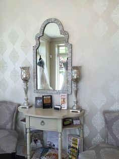 Showroom makeover-this pattern from Ronald Redding Designer Damasks can be seen in Lilla's Bridal Boutique in York #yorkwallstore