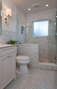 half wall shower | Like the half wall, not the tile | Bathroom ideas | Pinterest
