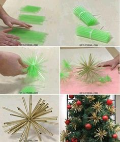 These straw/zip tie ornaments are perfect for a large outdoor tree! Diy Christmas Ornaments, Gold Ornaments, Christmas Decorations, Outdoor Trees, Zip, Paper Crafts, Recycling, Plants, Seasons