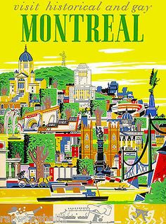Historical Montreal Canada Canadian Vintage Travel Advertisement Art Poster in Collectibles, Souvenirs & Travel Memorabilia, International Montreal Travel, Paris Travel, Paris Poster, A4 Poster, Poster Wall, Room Posters, Posters Canada, Voyage Canada, Tourism Poster