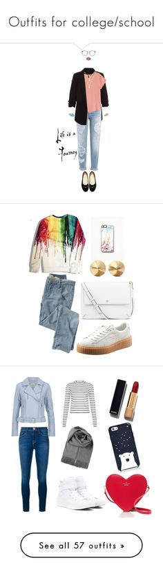 """""""Outfits for college/school"""" by florcampodonico ❤ liked on Polyvore featuring New Look, Dsquared2, H&M, BaubleBar, Lime Crime, Linda Farrow, Kiel James Patrick, Puma, Wrap and Free People"""