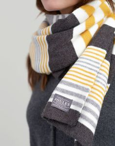 Joules Chillaway Womens Striped knitted scarf - Light Grey Marl Source by bearwolfpelt scarf Leopard Scarf, Grey Scarf, Vintage Fashion 1950s, Vintage Hats, Victorian Fashion, Striped Scarves, Striped Knit, Joules Uk, Scarf Design