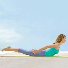 Swan Dive: Lie on your stomach, stretch your arms overhead, point your toes, and lift your arms and legs about 6 inches off the ground. | http://www.health.com/health/gallery/0,,20664616_17,00.html