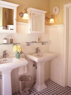 These side-by-side pedestal sinks are great beside classic beadboard. -- I would like one sink like this and the beadboard, and I really like the black and white tile floor for my upstairs bath. Laundry In Bathroom, Downstairs Bathroom, Bathroom Renos, Design Bathroom, Bathroom Interior, Bathroom Ideas, Bathroom Beadboard, Wainscoting Kitchen, Bathroom Remodeling