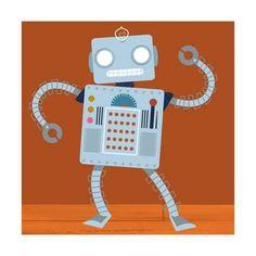 Dancing Robot on Wood Floor Reproduction d'art