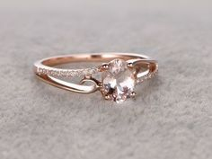6x8mm Oval Morganite Engagement Ring Diamond Wedding Ring 14k Rose Gold Simple Split Shank #haloengagementring