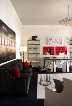 Dark Blue Velvet With Red And Black Living Room