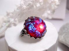 Round Dragon's Breath Opal Ring. $22.00, via Etsy.