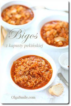 Bigos z kapusty pekińskiej. Oprócz podanych składników dodaje 1/2 kg pieczarek,1 łyżeczkę zmielonych suszonych pomidorów,1 łyżeczkę przyprawy suszonych pomidorów z czosnkiem i bazylią