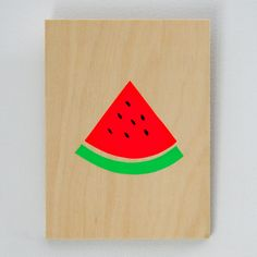 me and amber — watermelon screenprint on plywood