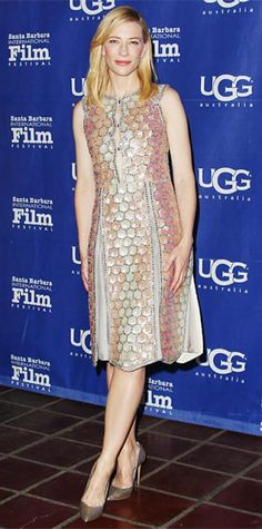 FEBRUARY 3, 2014 Cate Blanchett WHAT SHE WORE Blanchett was honored with the Outstanding Performer of the Year Award at the 29th Santa Barbara Film Festival in a colorful pastel embroidered Maison Martin Margiela coatdress with a Daniel Gibbings ring and metallic Casadei pumps.
