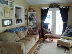 Family room.  Love my chenille couch and the colors, and the beaded board ceiling.