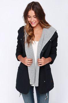Roxy Wind Waves Black Hooded Coat at Lulus.com!