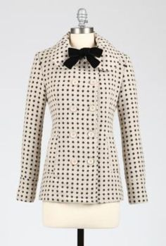 Home Sweet Home Dot Print Coat with Vevet Neck Tie