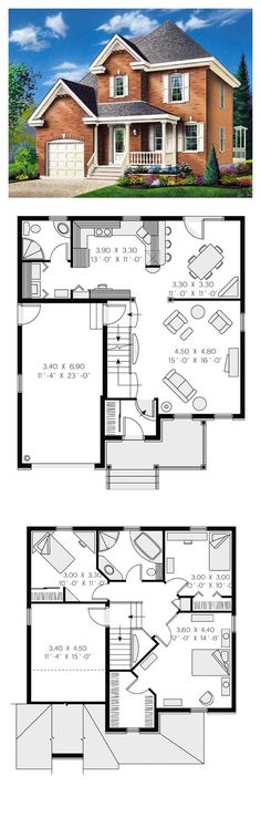 Colonial House Plan 65280 | Total Living Area: 1448 sq. ft., 3 bedrooms & 2 bathrooms. Distinctive elements: Built-ins, front porch, unfinished bonus space on second level above garage. #houseplan #colonialstyle: