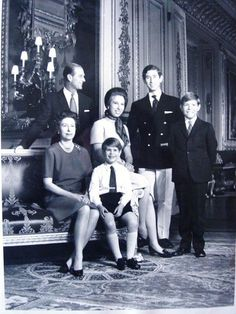 The Royal Family in Buckingham Palace | Royal Collection Trust-Queen Elizabeth, Prince Philip, Princess Anne, Prince Edward, Prince Charles, Prince Andrew, Buckingham Palace, June 1971