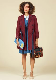 East Coast Tour Trench in Burgundy, #ModCloth