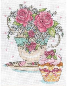 Teacup Roses Cross Stitch Kit £20.50 | Past Impressions | Design Works