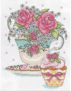 Teacup Roses Cross Stitch Kit £20.50   Past Impressions   Design Works