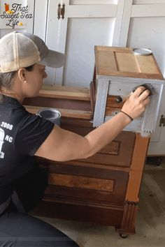 This gray and white painted dresser was such a treat to create!  Is this technique right for your project?  Here I share with you the story and the entire process, including how to dry brush!  Read to see if it's the perfect plan for your piece.  #painting #DIY #upcycle #refurbish #PaintingFurniture #Howtopaintfurniture