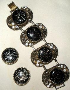 SET real SELRO Bracelet & Earrings JET BLACK & Confetti Cabs - Tiny FEMALE FACES #Selro #CuffStatementRetro
