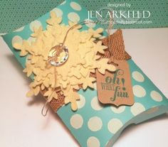 Stamped Silly: Silhouette Sunday...Oh! What Fun!! Stampin' Up's Festive Flurry combined with a polka dot pillow box = the perfect gift wrap! {Jen Arkfeld}