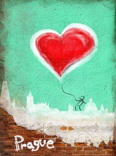 With heart in Prague #Prague #Praha #Prag #Прага #Praga #プラハ #布拉格 #Czech #Czechia #Travel #Trip #Europe #WithHeartInPrague #retro #vintage #graphiti