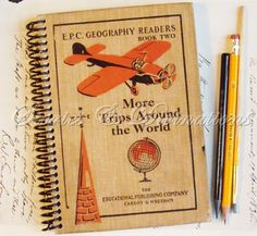 Travel Journal - More Trips Around the World - Handmade Vintage Journal, Diary, Notebook, Sketchbook by StoriesDivinations on Etsy