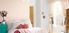 Using Natural Hints. Blossom white main bedroom. Cornflower white spare room. Both paired with Jasmine white.