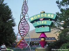 Wonders of Life sign from the  Pavilion at Epcot with DNA strands besides it. Was a really great pavilion just lost its Sponsor. Epcot in Walt Disney World