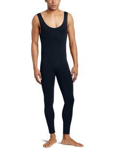 Ensnovo Mens Lycra Nylon Sleeveless Black Tank Top Backless Custom Skin Tight Suits Dancewear Costumes Gymnastics Ballet Unitard