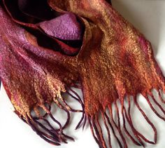 Hand dyed hand felted long merino silk scarf by Artsbyartemis Felt, Trending Outfits, Unique Jewelry, Handmade Gifts, Etsy, Vintage, Fashion, Kid Craft Gifts, Moda