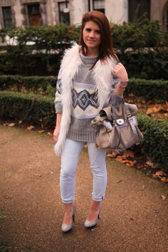Daisy Jewellery used my street style picture on their pin board! @myfashionwishlist  Silver Crown Chakra Bracelet, 3 Stack Rings, River Island jumper & gilet, Kurt Geiger shoes, Paige jeans, Mulberry Alexa bag