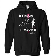ILLINOIS GIRL IN HAWAII WORLD - #gift for mom #gift exchange. SAVE => https://www.sunfrog.com/LifeStyle/ILLINOIS_HAWAII-Black-75895178-Hoodie.html?68278